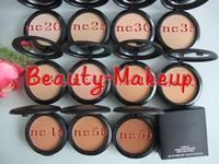 10pcs/lot mc brand makeup powder plus foundation studio fix +powder puffs 15g 10 different color dropship free shipping