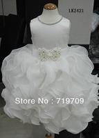 Retail 2013 new sleeveless  Chiffon Dress Girls Tutu Layered Princess Party Bow Kids Formal Dress LK2421