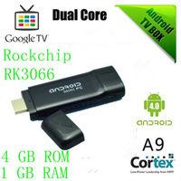 Free shipping Android dual core tv dongle iptv box rk3066 media player 1080p XBMC mini pc tv sticks