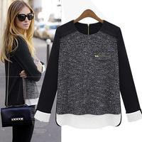 High Quality Free shipping 2014 New Fashion  women Plus Size Autumn Winter  Blouse S M L XL XXL Size #12794