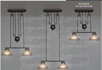 T8 industrial designers mechanical aesthetics IKEA Unser high transmittance glass wind nostalgic double living room chandelier