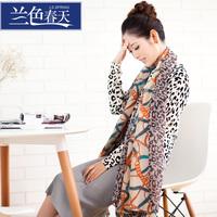 New arrival blue 2014 chain leopard print women's large chiffon silk scarf cape female