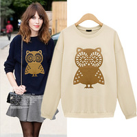 Fashion 2013 women's casual long-sleeve o-neck owl print sweatshirt t-shirt blouse plus size S M L XL WHITE GREY FREE SHIPPING
