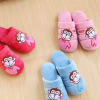 Double 2 at home slippers cute winter slippers lovers floor cotton-padded monkey slippers