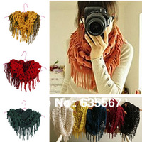 Hot 1PC Women Winter Fashion Knitted Acrylic Woven Tassel Fringes Infinity Scarf Wraps Lady Gift