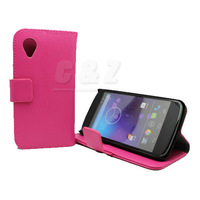 Hot Pink New Leather Case Cover Pouch +Screen Protector For LG Google Nexus 5 d Free shipping