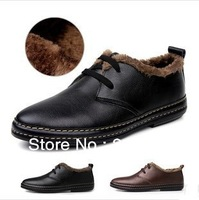 2013 Fashion British Style Winter Men Sneakers Fur Inside Warm Genuine Leather Men's Shoes Size 39-44 Free Shipping