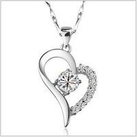 Crystal heart shape pendant eardrop women necklaces silver necklace