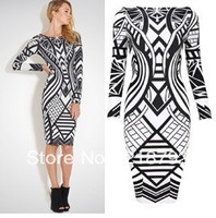 DHL free shipping top quality latest Multicolor Long Sleeve Bandage Dress