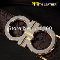 Designer Fashion Design Alloy Classic Buckle Mens And Women Leather Belts,Pure Color Letters Embossed Men's Luxury Leather Belt,