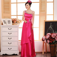 One shoulder 2013 bride wedding evening  party dress long design red  bridesmaid