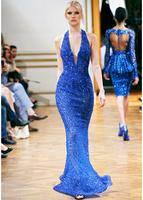 2014 Sexy Royal Blue Halter V-Neck Sequins Chiffon Long Mermaid Off The Shoulder Sleeveless Zuhair Murad Prom Evening Dresses