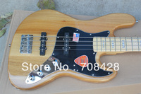 free shipping 4 string jazz bass natural color maple neck with pearl inlay active system