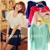 Han edition short-sleeved summer wear render chiffon unlined upper garment unlined upper garment/white chiffon blouse   C165