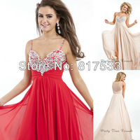A Line Sweetheart Rhinestone Floor Length Party Evening Spaghetti Straps Long Dress Empire Crystal Girls Prom