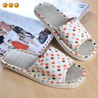 dot leopard print summer linen slippers at home lovers slippers