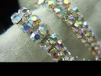 free shipment 2-row silver AB crystal rhinestone trims wedding decoration close chain  DIY accessories