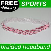 100pcs braided baseball headband