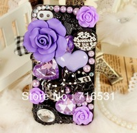 2pcs/lot Luxurious Rose Rhinestone Hand drill point cover case for Apple Iphone 5/5S/5C/4/4S