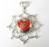 Free Shipping Wholesale 6pcs/lot  Fashion Jewelry Silver plated flower inlay button Pendant With Rhinestone Necklace  NR20131102