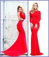 Red Sexy Free Shipping Custom Made Pleat Satin Long Sleeves Backless Mermaid Evening Prom Dresses 2014