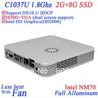 2013 computer mini Win XP/7 with Intel Celeron 1037U dual core 1.8GHZ CPU Intel HD Graphics DX10.1 HDCP support 2G RAM 8G SSD