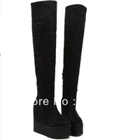 Increased within 2013 winter high slope with long thin thigh high boots cotton women's Martin knight boots woman Knee-high boots