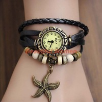 Free shipping 15pcs/lot New Stylish Quartz Weave Wrap Synthetic Leather Bracelet Watch Women's Wristwatch 5 Colors 18657