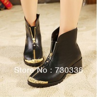 2013 new winter fashion short boots thick heel low-heeled metal zipper women's cotton boots Martin motorcycle Knight boots woman