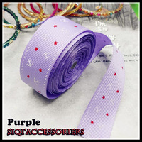 "Free shipping _1 ""25mm Anchor star pattern ribbon Purple/High Quality packaging ribbons / Ribbed ribbon wedding decorations"