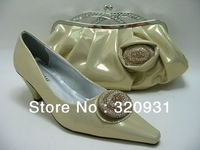Free shipping!!!African Woman Matching Shoes And Bag Set For Wedding And Party in apricot Size38-42