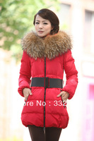 Free Shipping  Snow  warm Duck Coat Thick Big Real  Fur Collar Down Coat Women's Long Slim Parka Winter Jacket Coats With Belt