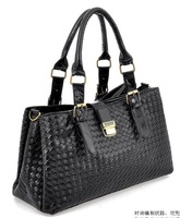 2013 New Women's Leather Handbag Black Weaving Grid Hasp Fashion Bags Brand Totes Women Messenger Bag Great Gift for Ladies