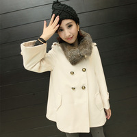 2013  winter women's new rabbit fur collar cloak short  wool outerwear / wool  blends coat