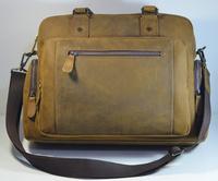 Vintage Leather Men's Business Briefcase Handbag Crazy horse Laptop Bag Travel Bags Free Shipping