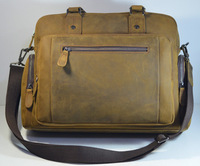 Vintage Leather Men's Business Briefcase Handbag Backpack Laptop Bag Travel Bags Free Shipping