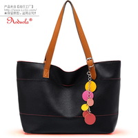 Women's handbag candy handbag color film pendant shoulder bag black 2086