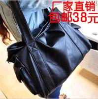 Bags 2013 women's handbag personalized women's shoulder bag messenger bag fashion black big bag