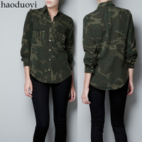 Haoduoyi thickening autumn and winter gold rivet decoration big double pocket female long-sleeve shirt Camouflage rivet shirt