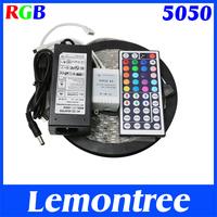 5M RGB LED Strip Light 5050 Waterproof 110V 220V to 12V + 44Keys Remote + 6A Power Adapter Supply Transformer For Home Decor