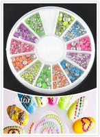 Mix Colors mix size Round Neon Stud Rhinestone DIY Nail Sticker Nail Art  Decoration round Wheel    NA034