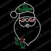 Hot Sale Santa Claus Christmas Rhinestone Transfer Motif  Hot Fix Rhinestones Designs 30Pcs/Lot Free Shipping
