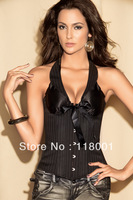 free shipping hot selling pvc boned wholesale sexy  black satin overbust corset and bustier top C- 596