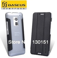 BASEUS Brand Folio pu Leather Flip Cover For HTC One MAX T6 Protection Phone Case, With Retail Box, Freeshipping