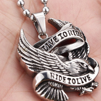 Live to Ride Super Cool Eagle Pendant Stainless Steel Men's Fashion Pendant HD Free Shipping BP3021
