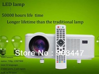 cheap led beamer / projector with 3000 lumens 150w led lamp lighting 50000 hours lcd panel 2 hdmi ports 2 usb inputs for home