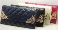 Free Shipping Women Wallet Long Design Triple Fold Buckle Wallet Card Holder Wallet PU Purse Wallet Women