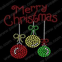 Cute Design Merry Christams Heat Transfer For Tshirt Hot Fix Rhinestones Wholesale Iron On Motif 30Pcs/Lot Free Shipping