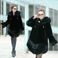 Free Shipping 2013 Women faux Mink fur overcoat Thermal winter cold-proof mink overcoat marten velvet fur coat fur tie cap long