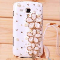 Luxury 3D Cherry blossom Flower Pendant Bling Shiny Diamond Case Cover For Samsung Galaxy S3 Mini i8190
